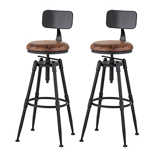 Taburetes Altos de Cocina Juego de 2 sillas de Taburete de Bar de Altura Ajustable con Barra giratoria Industrial para Isla de Cocina