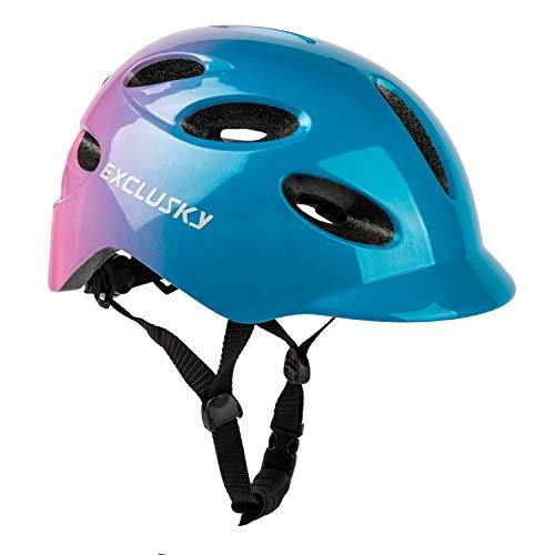 Exclusky Fahrradhelm für Erwachsene, mit wiederaufladbarem USB-Sicherheitslicht für Stadt-Pendler, CE-zertifiziert, blau/rose