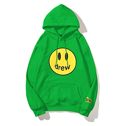ramsons Drew House Hoodie Smiley Face Sweater Bieber Trendy Couples Pullover Hooded for Teens Men Women Youth (Green,L)