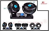 Auto Oprema Car Fan 12V 360 Degree Rotatable Dual Head 2 Speed Quiet Strong Dashboard Auto Cooling...