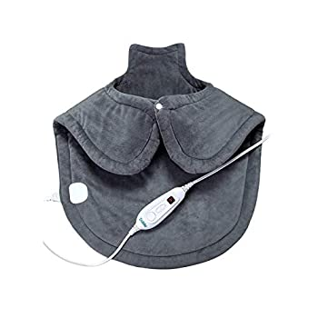 Large Heating Pad for Neck and Shoulders Pain Relief Sable Heating Wrap for Neck with Auto Shut Off - 6 Temperature Settings
