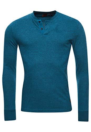 Superdry Hombre Camiseta con Cuello Panadero y Manga Larga Jaspeado Azul Ketion XXL