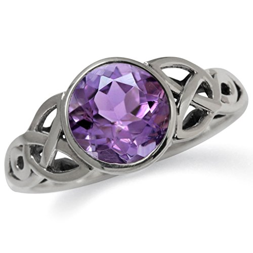 Silvershake 1.76ct. 8mm Natural Round Shape Amethyst 925 Sterling Silver Triquetra Celtic Knot Solitaire Ring Size 8