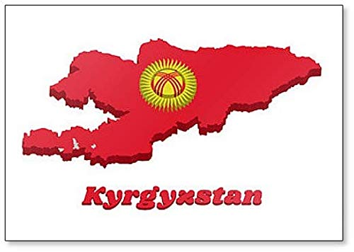 Kühlschrankmagnet, Motiv Karte & Flagge von Kirgisistan