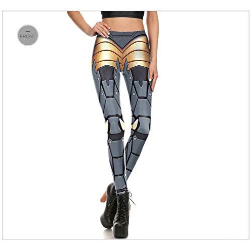 CKUZI Polainas Impresas en 3DLeggings de Fitness Mujeres Leggins Impresión Digital Robot Armor Punk Cosplay Slim Legging Femme Mujer