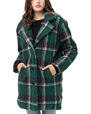 Women's Faux Fur Plaid Coats – Plaid Button Down Sherpa Fleece Long Jacket LTJ8135 Green XL