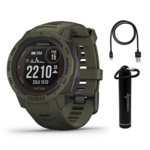 Garmin Instinct Solar Tactical Edition Premium GPS Smartwatch with Included Wearable4U Power Bank Bundle (Moss)