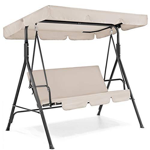3 Sitz Garten Schaukel Stuhl Überdachung Abdeckung Sonnensegel Wasserdichten UV-beständig Außenhof Hammock Zelt Swing-Top Cover NO Fade (Color : Beige)