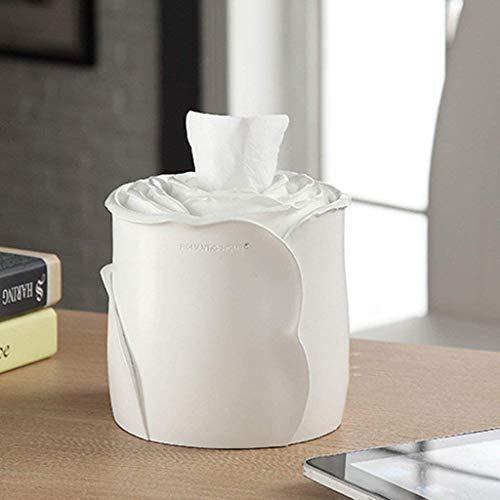 KMILE Toalte de Toallas de Papel Moda Creativa Linda Rosas Simples Cajas de pañuelos de Resina Cajas de Bombeo Papel higiénico Contenedores de Almacenamiento (Color : White)