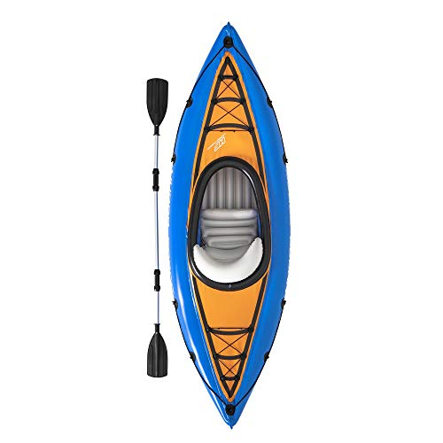 """Bestway Hydro Force Cascade Cove Champion 9' x 32"""" Inflatable Single Person Lake Water Sports Kayak Set with Oar and Hand Air Pump for Ages 12+, Blue"""