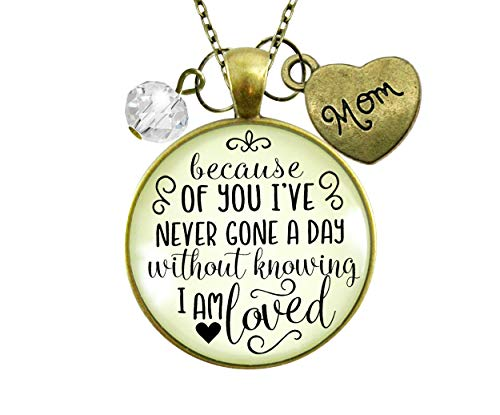 Gutsy Goodness 24' Mom Necklace Because Of Your Love Gift from Blessed Daughter Jewelry