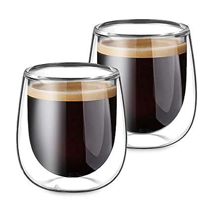 Glastal 2 Piezas Tazas de Cristal Café Espresso Transparente Taza de café de vidrio de pared doble de 120 ml