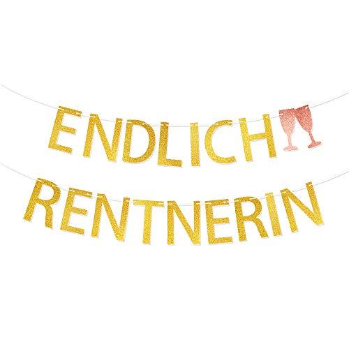 VINFUTUR Endlich Rentnerin Girlande Gold Rente Banner Hängende Retirement Girlande für Ruhestand Pensionierung Abschiedsfeier Partydeko