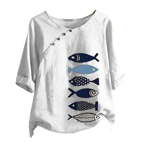 Great Price! Dosoop Womens Fish Print Blouse 1/2 Short Sleeve Crewneck Button Down Casual Loose T Sh...