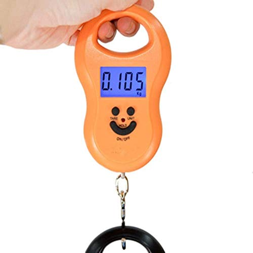 HSJ WYQ- Escala portátil de Resorte de Pesca electrónica, Mini Caja de polipasto de Escala electrónica Peso 50kg Escala de Primavera Peso (Color : Orange)