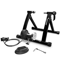 A cyclists bike trainer