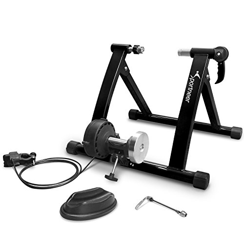 Bike Trainer Stand - Sportneer Steel Bicycle Exercise Magnetic Stand with Noise Reduction Wheel, Black