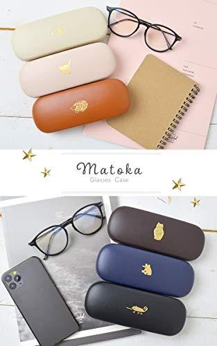 メガネケースおしゃれかわいいMATOKAマトカ合皮フェイクレザー箔押し金アニマル柄眼鏡ケースパンダピーチスキン加工ナチュラル