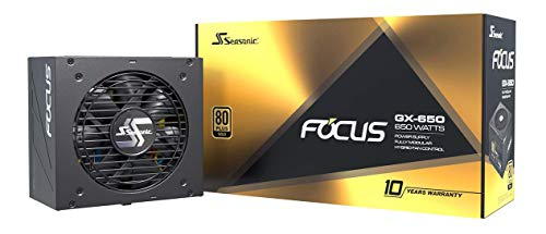 Seasonic Focus GX 650W Power Supply, Full Modular, 80 Plus Gold, 90% Efficiency, Cable-Free...