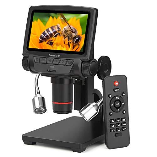 Koolertron Digital Mikroskop 5 Zoll LCD 1080P Mit Kabelloser Fernbedienung Verstellbarer Basis Fülllicht Kamera Video Recorder Microscope , mit 8 Einstellbares Licht LEDs HDMI / AV / USB Ausgang