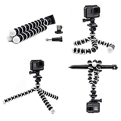 Digicharge Octopus Flexible Tripod Camera + Action Cam Mount Stand, Compatible With GoPro Hero9 Hero8 HERO 9 8 7 6 FUSION Akaso Brave 5 4 Apeman Fitfort Crosstour Davola Dragon Touch Jeemak Cam from