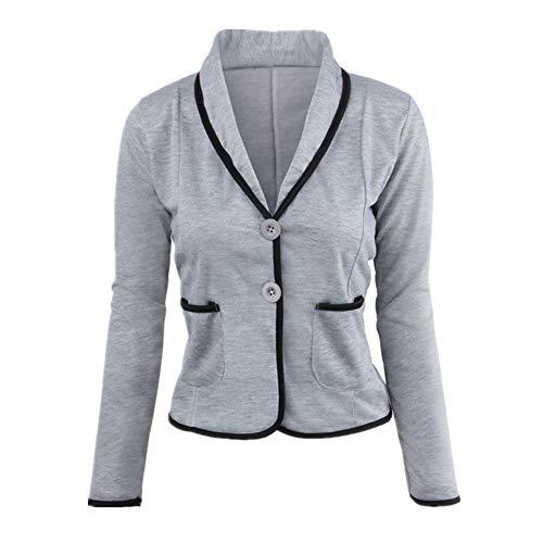 N\P Traje de otoño para mujer, elegante chaqueta de manga larga con solapa. Gris 1 XXXXXXL