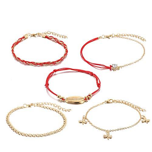 U/N Bohemian Ankle Bracelets Set Multilayer Rhinestone Shell Butterfly Bracelets Women Anklet Foot Jewelry Gift 5Pcs