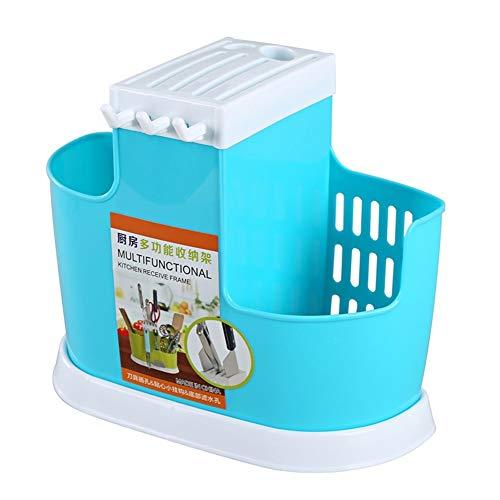 ZHNA Vaisselle Protection de l'environnement Drain Rack Baguettes Tube ménagers Multifonctions Plateau 26x12x21.3cm (Color : Blue)