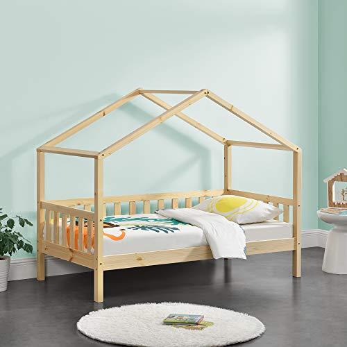 Cama para niños Cama Infantil Elevada 160x80cm Estructura Casa de Madera Pino con Reja Madera Natural