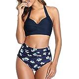 Maillot de bain 2 pièces pour femme, maillot de bain vintage dos nu taille haute imprimé bikini pour femme bretelles col en V maillots de bain - Bleu - S