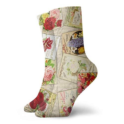 Paño de cocina de algodón para mujer – Catálogos de semillas vintage_1451Socks divertidos coloridos, 100% algodón antideslizante para hombres y mujeres, talla única