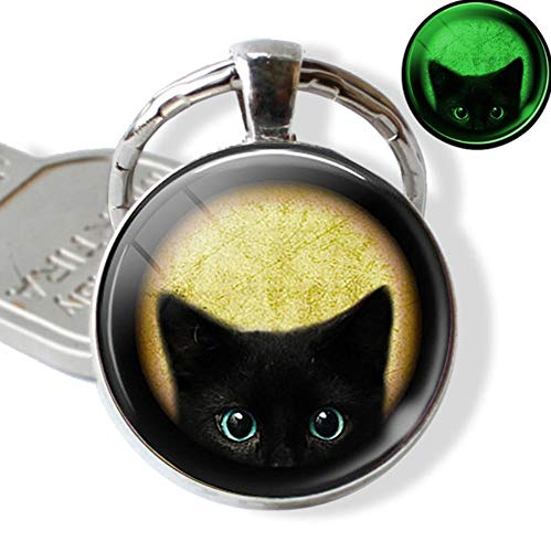 Halloween lichtgevende kat sleutelhanger sleutelhanger Glowing In The Dark kat met pompoen kunst foto glas sleutelhanger sleutelhanger geschenken
