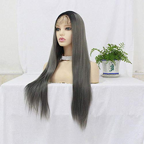 Lady fashion perruque cheveux noirs longs cheveux raides dames avant chapellerie tissée à la main de dentelle