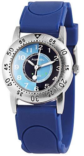 Auriol - Reloj de Pulsera para niños (analógico, Metal, Silicona, Cuarzo), Color Azul