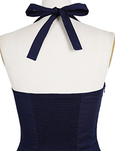Timormode Rockabilly Kleider Neckholder 50s Vintage Kleid Retro Knielang Kleider Damenkleider Festlich Cocktailkleider 10387 Rot XS - 6