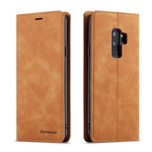 EYZUTAK Hülle für Samsung Galaxy S9, Magnetverschluss Premium PU Leder Flip Hülle mit Kartenfächern Brieftasche Standfuntion stoßfeste Silikonhülle Retro Ledertasche - Braun
