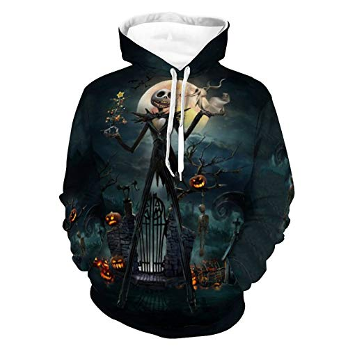 Nightmare Before Christmas Hoodie 3D Print Long Sleeve Jack & Sally Skellington Pullover Casual Sweatshirt Hooded Novelty Coat L