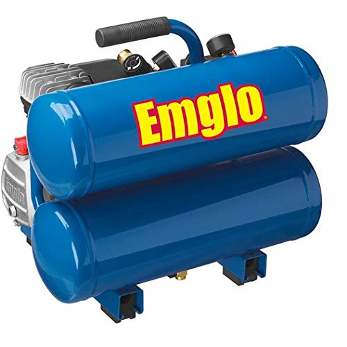 Emglo E810-4VR 1.1 HP 4 Gallon Oil-Lube Twin Stack Air Compressor (Renewed)