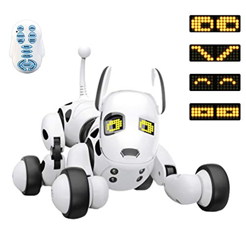 LUSHUN Roboterhund für Kinder, Roboter Hund Interaktiv Kinder Spielzeug, mit Berührungserkennung und Musikfunktionen, Akku und USB-Kabel, Komplett-Set inkl. Fernsteuerung