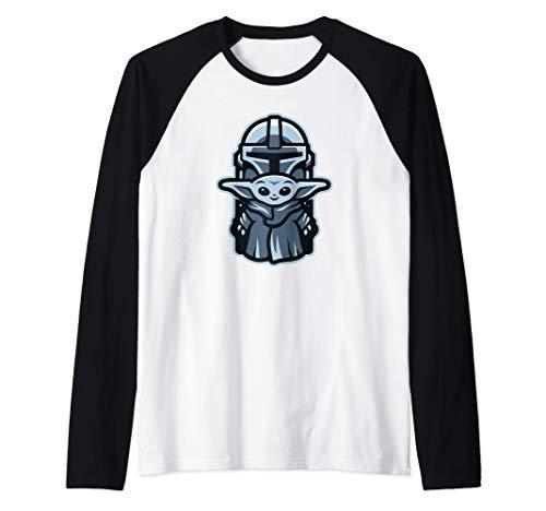 Star Wars The Mandalorian Mando and the Child Badge Maglia con Maniche Raglan