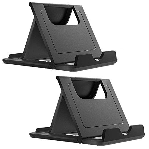 Phone Stand Tablet Stand Multi-Angle Cell Phone Stand Cradle Holder Universal Foldable Tablet Phone Stand Compatible with Samsung iPhone Xs/XR/11 Pro/Max/X, iPad, Kindle (2PCS in Black)