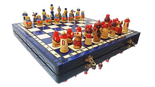 Master of Chess Lovely Matryoshka - Juego de ajedrez Decorativo de Madera Pintado a Mano de 42 cm (Azul)
