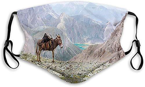 Fillter - Paño de boca 3D para adultos y niños, animal con arnés tradicional para transportar una zona de montaña salvaje y paisaje de lago, filtro reutilizable lavable al polvo