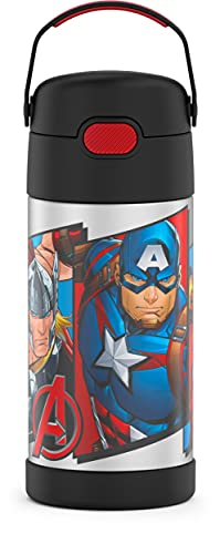 THERMOS FUNTAINER 12 Ounce Stainless Steel Vacuum Insulated Kids Straw Bottle, Avengers