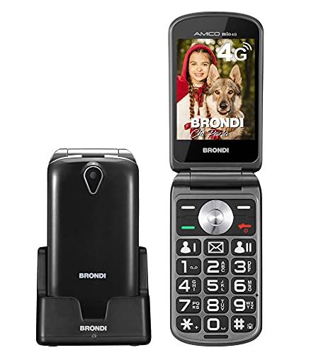 BRONDI Amico mio 4G Telefono Cellulare per Anziani GSM DUAL SIM con Tasti Grandi, Funzione SOS, Controllo Remoto, Volume Alto, Nero