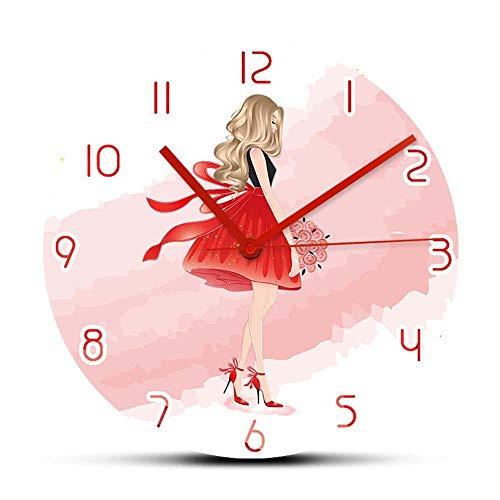 Reloj de Pared de diseño Moderno para Dama Rubia Hermosa para decoración de habitación de niña Reloj de Arte de Moda Relojes de Regalo para Accesorios de Mujer (sin Marco)