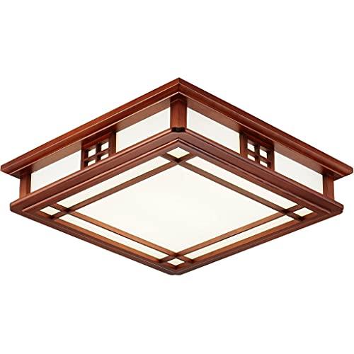 Ywyun Plafonnier en bois massif en carré japonais, lustre à LED simple moderne, salon chinois chambre à coucher plafonnier d'étude