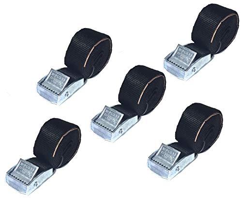JUMBO Spanband 5 pack, 25mm, 100cm, zwart met klemgesp, TUV gecertificeerd, conform EN-12195-2