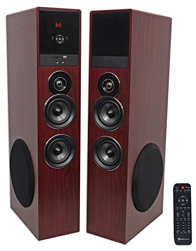 Rockville TM80C Cherry Powered Home Theater Tower Speakers 8' Sub/Bluetooth/USB