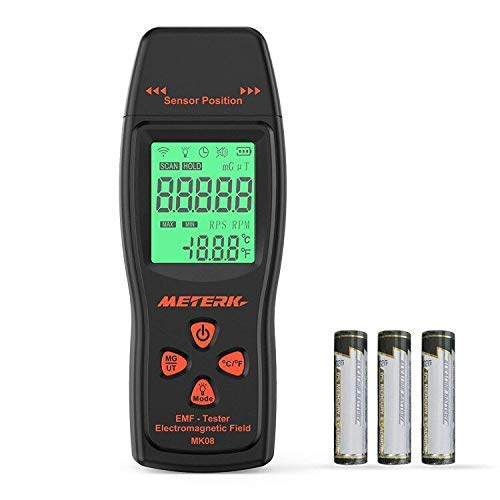 EMF Meter Meterk Electromagnetic Field Radiation Detector Handheld Mini Digital LCD EMF Detector Dosimeter Tester Counter for Low-Frequency Home Appliances